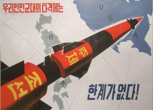 Affiche de propagande nord-coréenne vantant les capacités balistiques des ICBM nord-coréen.