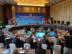 La dernière réunion de l'OCS: l'Inde et le Pakistan y ont été admis en juin 2017.