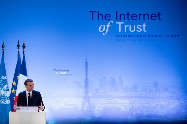 macron inaugure la forum pour la gouvernance d'Internet à Paris. l'occasion d'appeler les Etats, les entreprises et la société civile à s'engager pour la confiance et la sécurité dans le cyber espace