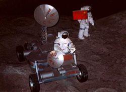 Exposition à Pékin représentant des astronautes chinois sur la lune, en 2000