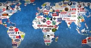 Une carte du monde où les logos de grandes firmes figurent en lieu et place des Etats