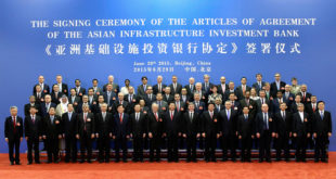 Photo officiel signature du traité sur l'Asian Infrastructure Investment Bank