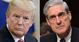 Un portrait de Donald Trump et de Robert Mueller