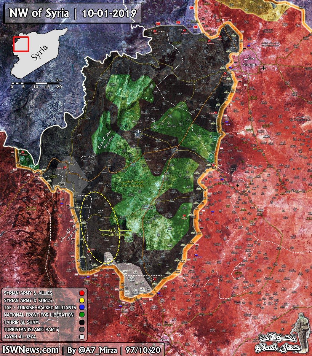 Composition des groupes rebelles de la poche d'Idlib Source : ISW News