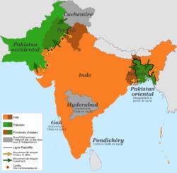 En 1947, l'Inde et le Pakistan deviennent indépendants.