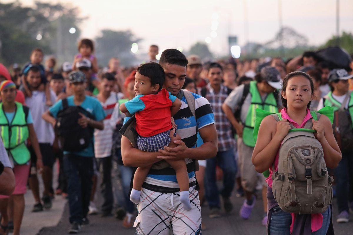 Caravane de migrants issus du Triangle Nord, à la frontière mexicaine