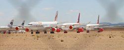 Photo de l'aéroport de Téruel (Espagne). Il n'accueille pas de trafic aérien mais assure uniquement la maintenance d'une centaine d'avions en stationnement ou en cours de recyclage.